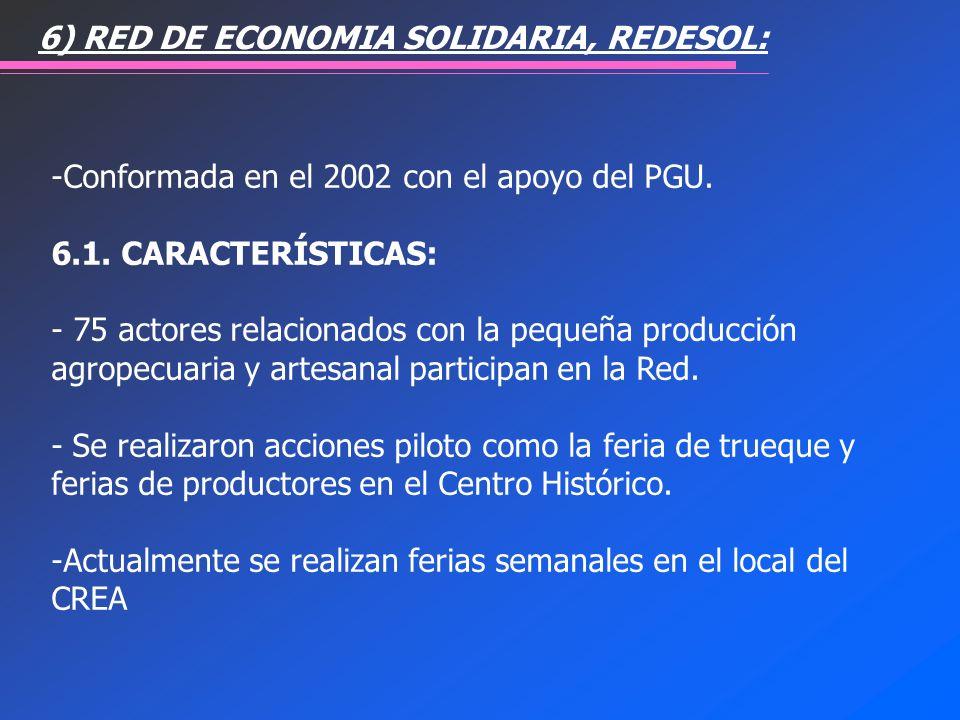 6) RED DE ECONOMIA SOLIDARIA, REDESOL:
