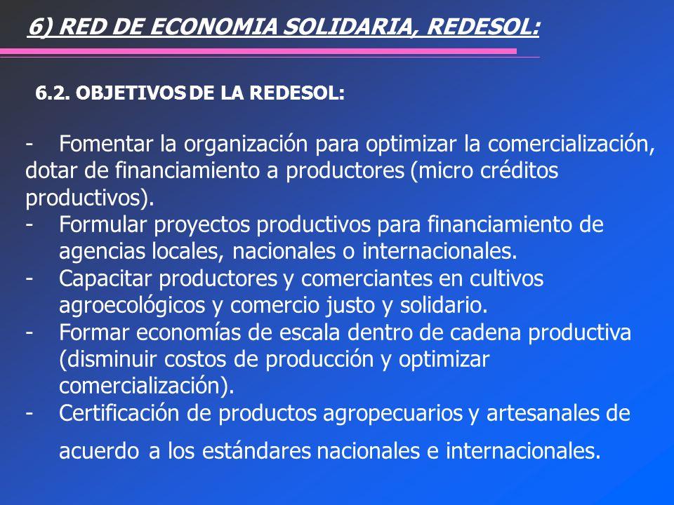 6.2. OBJETIVOS DE LA REDESOL: