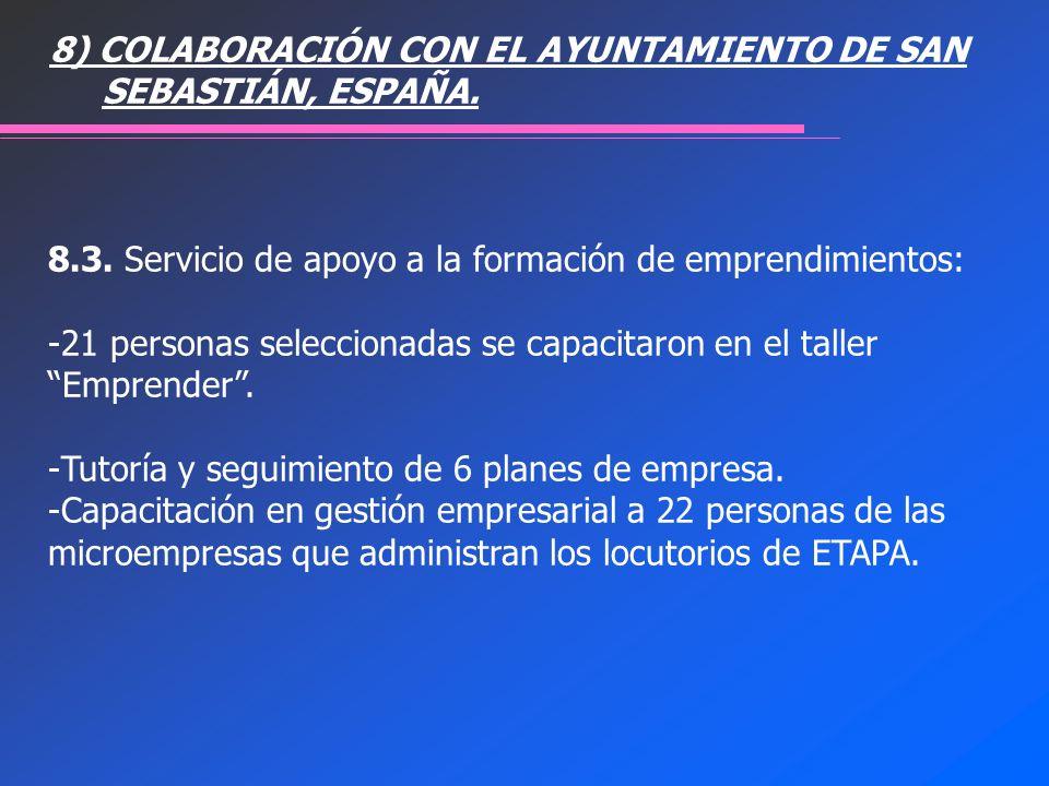 8) COLABORACIÓN CON EL AYUNTAMIENTO DE SAN SEBASTIÁN, ESPAÑA.