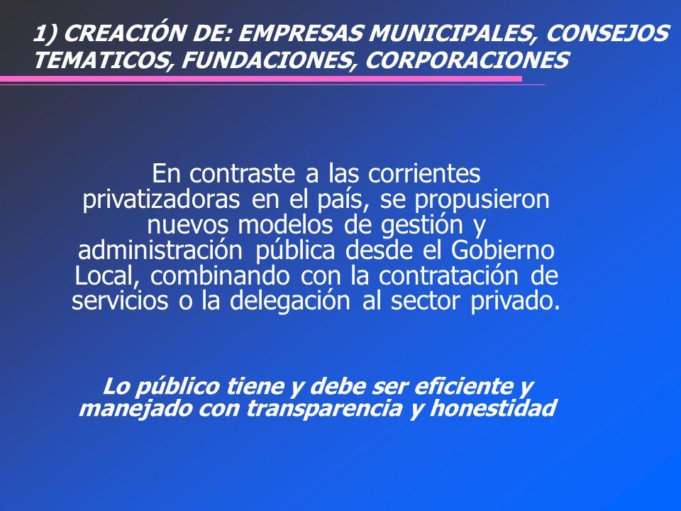 1) CREACIÓN DE: EMPRESAS MUNICIPALES, CONSEJOS TEMATICOS, FUNDACIONES, CORPORACIONES