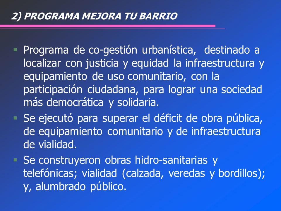 2) PROGRAMA MEJORA TU BARRIO