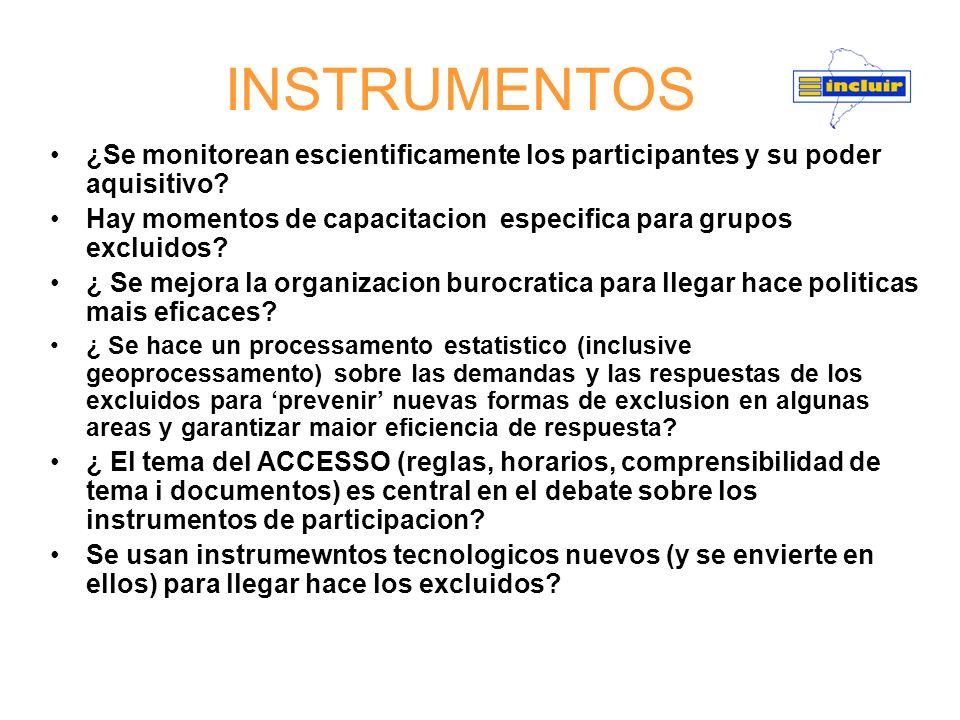 INSTRUMENTOS ¿Se monitorean escientificamente los participantes y su poder aquisitivo