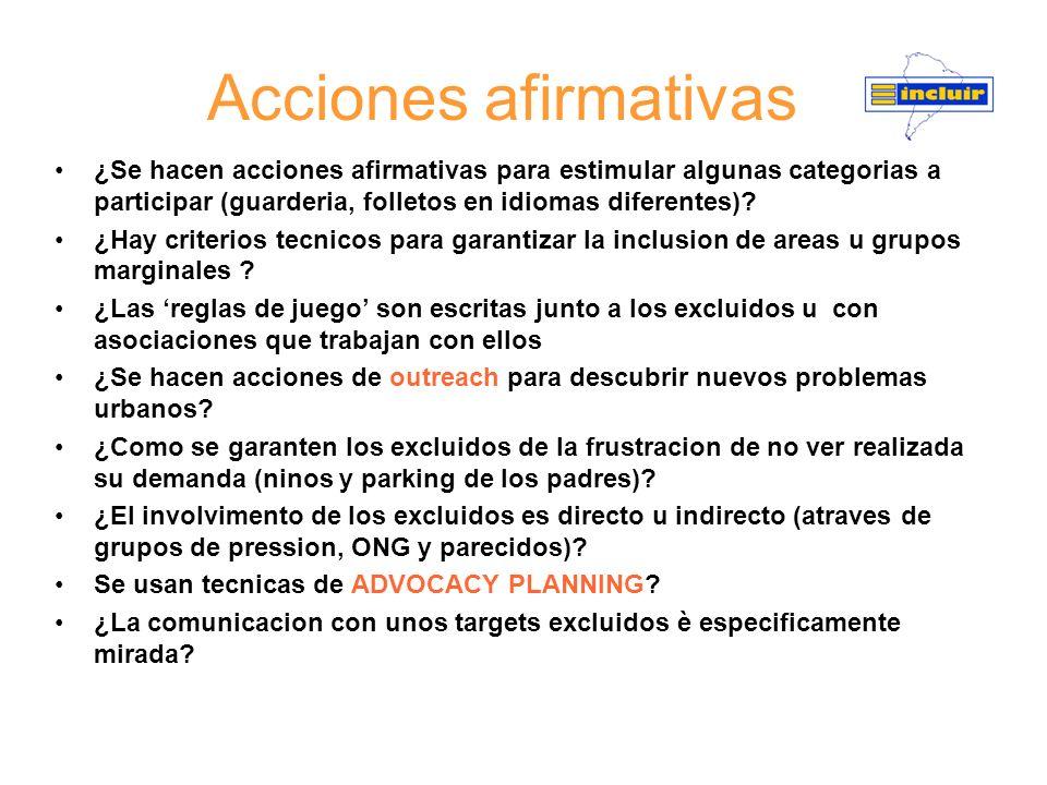 Acciones afirmativas ¿Se hacen acciones afirmativas para estimular algunas categorias a participar (guarderia, folletos en idiomas diferentes)