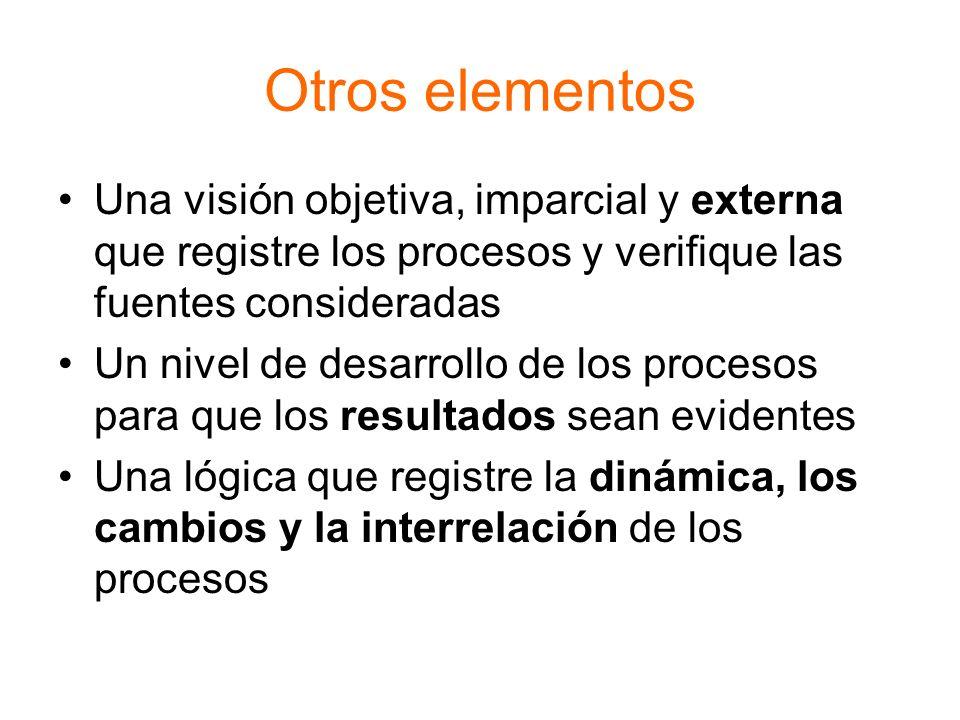Otros elementos Una visión objetiva, imparcial y externa que registre los procesos y verifique las fuentes consideradas.
