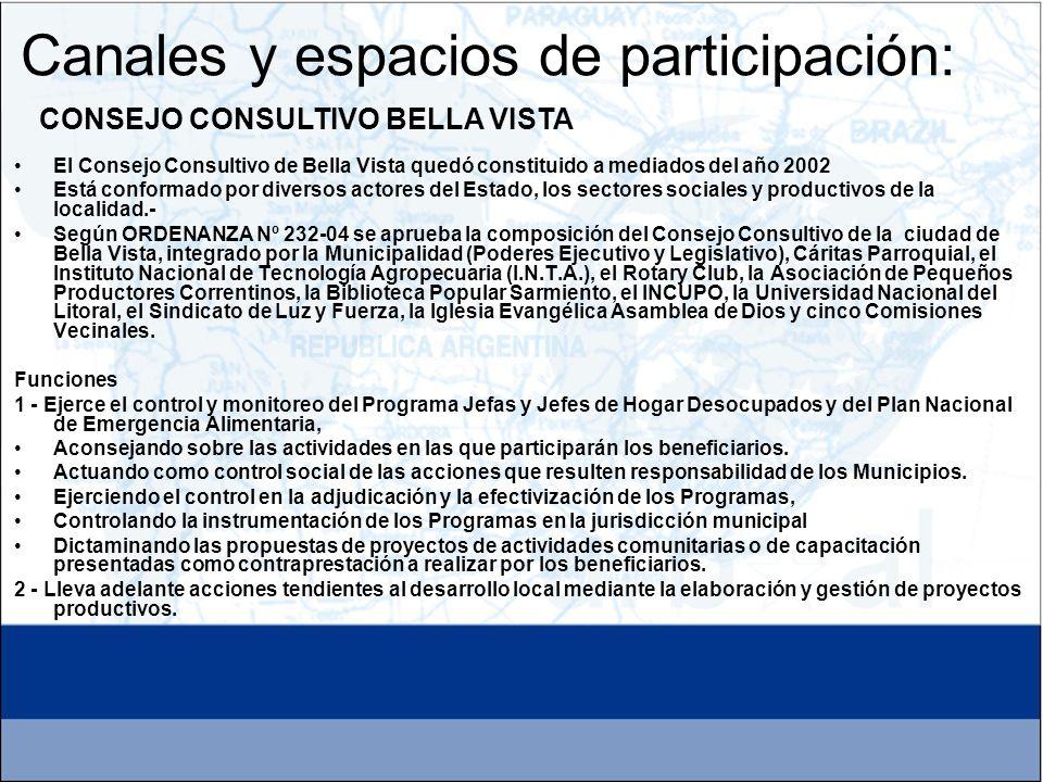 Canales y espacios de participación: