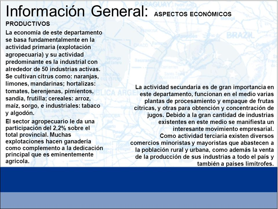Información General: ASPECTOS ECONÓMICOS PRODUCTIVOS