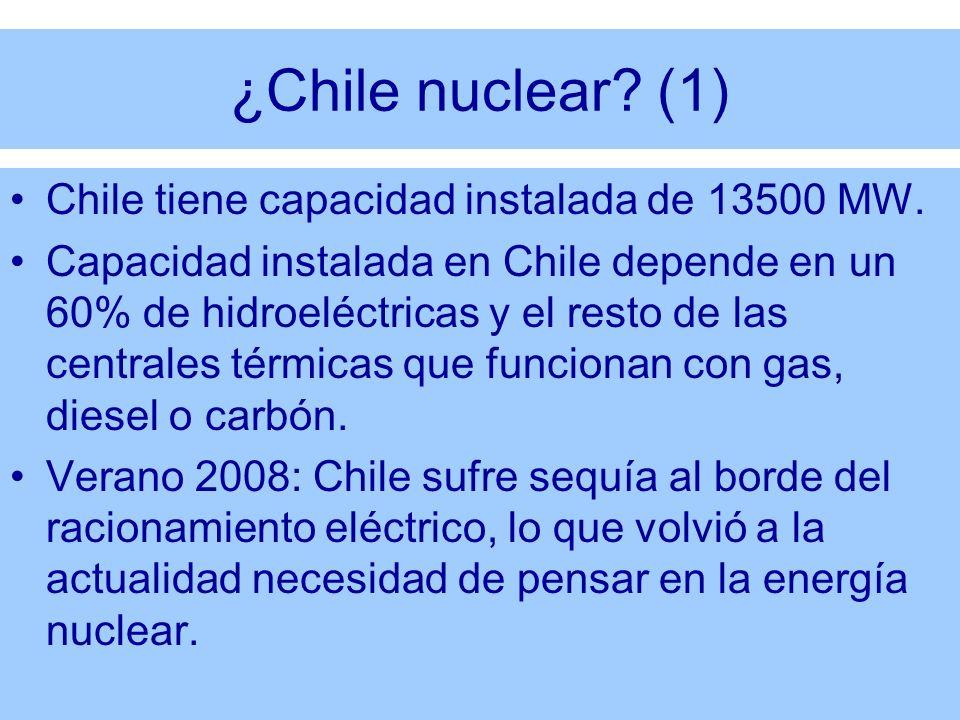 ¿Chile nuclear (1) Chile tiene capacidad instalada de 13500 MW.