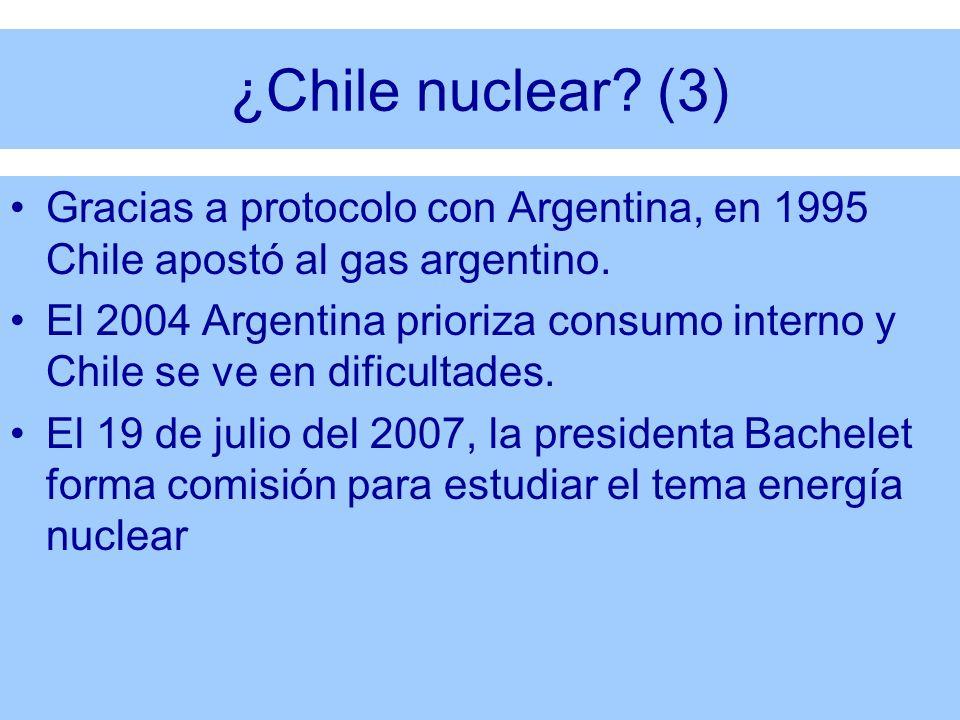 ¿Chile nuclear (3) Gracias a protocolo con Argentina, en 1995 Chile apostó al gas argentino.