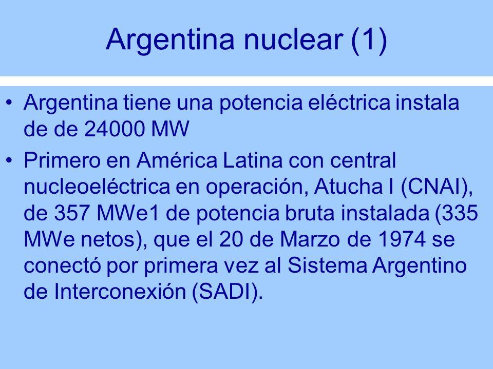 Argentina nuclear (1) Argentina tiene una potencia eléctrica instala de de 24000 MW.
