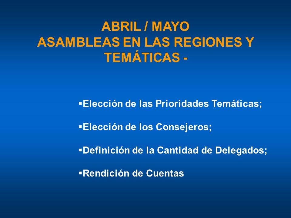 ASAMBLEAS EN LAS REGIONES Y TEMÁTICAS -