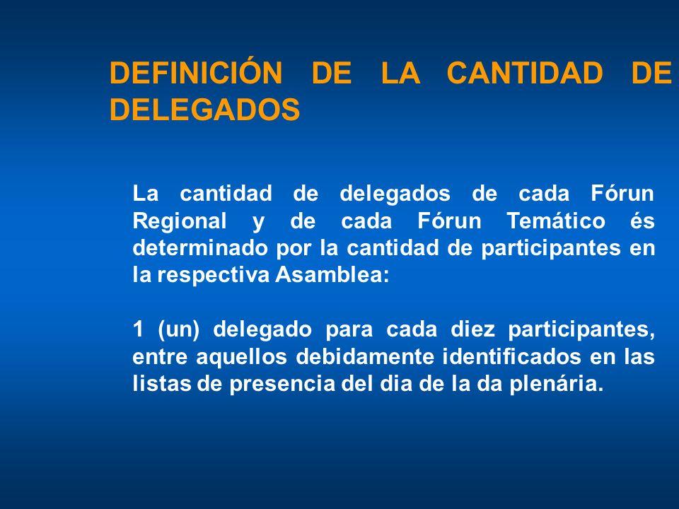 DEFINICIÓN DE LA CANTIDAD DE DELEGADOS