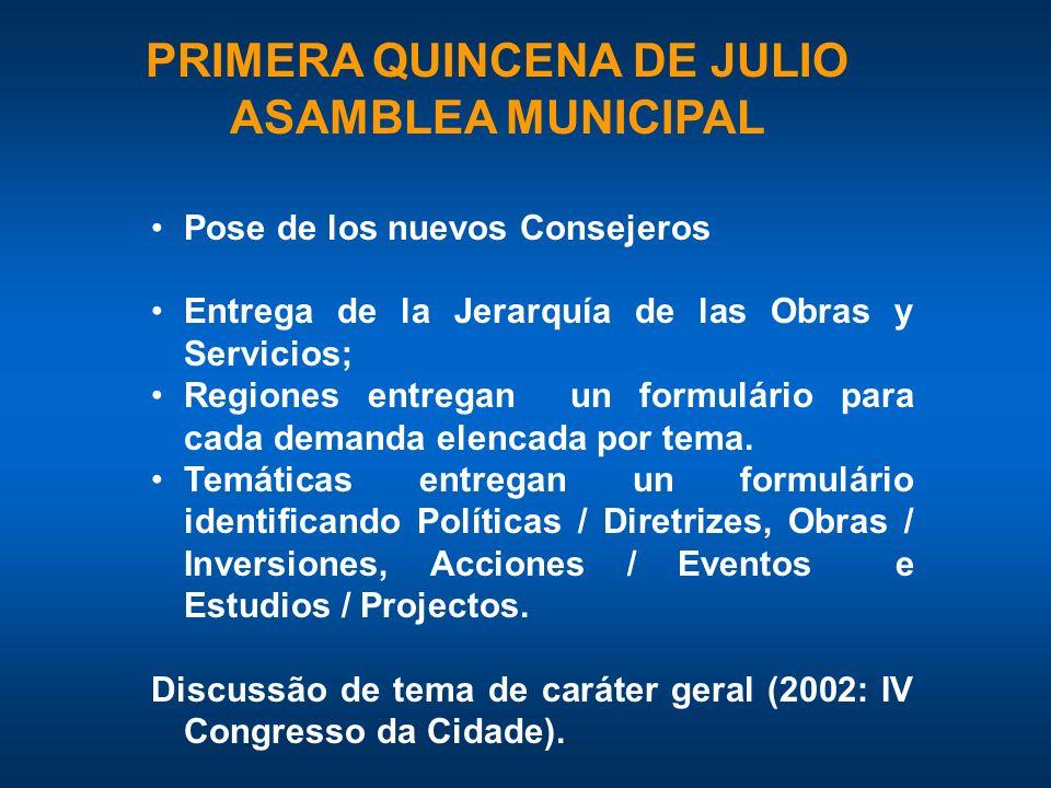 PRIMERA QUINCENA DE JULIO ASAMBLEA MUNICIPAL