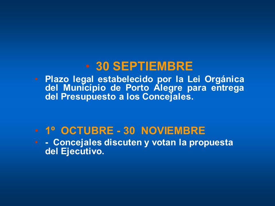 30 SEPTIEMBRE 1º OCTUBRE - 30 NOVIEMBRE