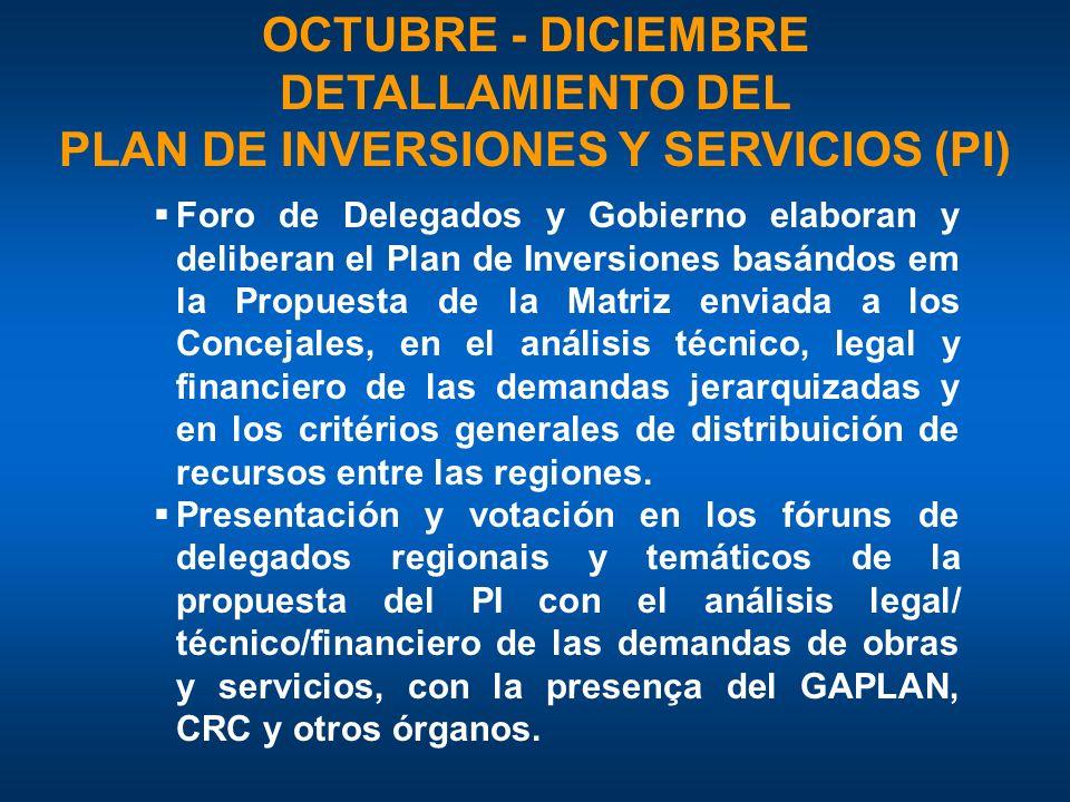 PLAN DE INVERSIONES Y SERVICIOS (PI)