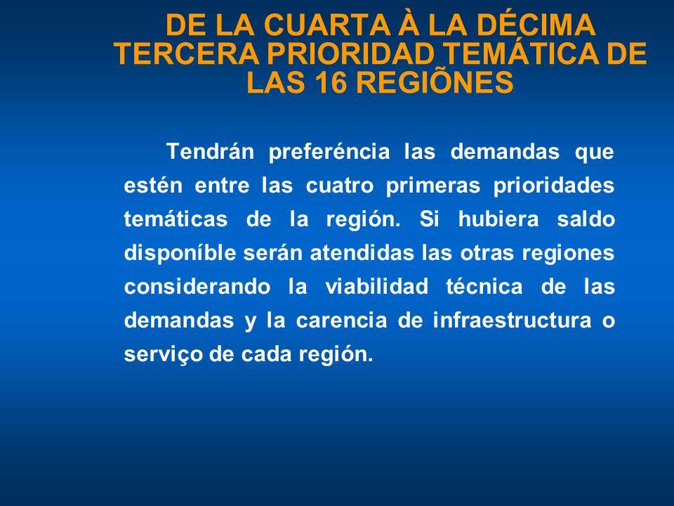 DE LA CUARTA À LA DÉCIMA TERCERA PRIORIDAD TEMÁTICA DE LAS 16 REGIÕNES