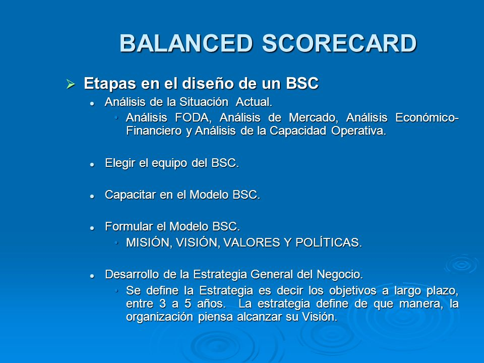 BALANCED SCORECARD Etapas en el diseño de un BSC