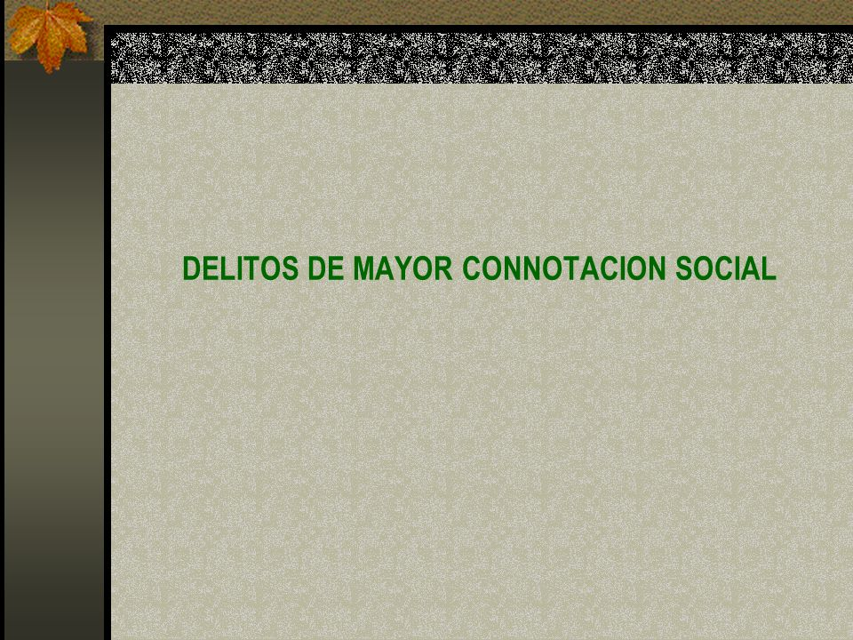 DELITOS DE MAYOR CONNOTACION SOCIAL