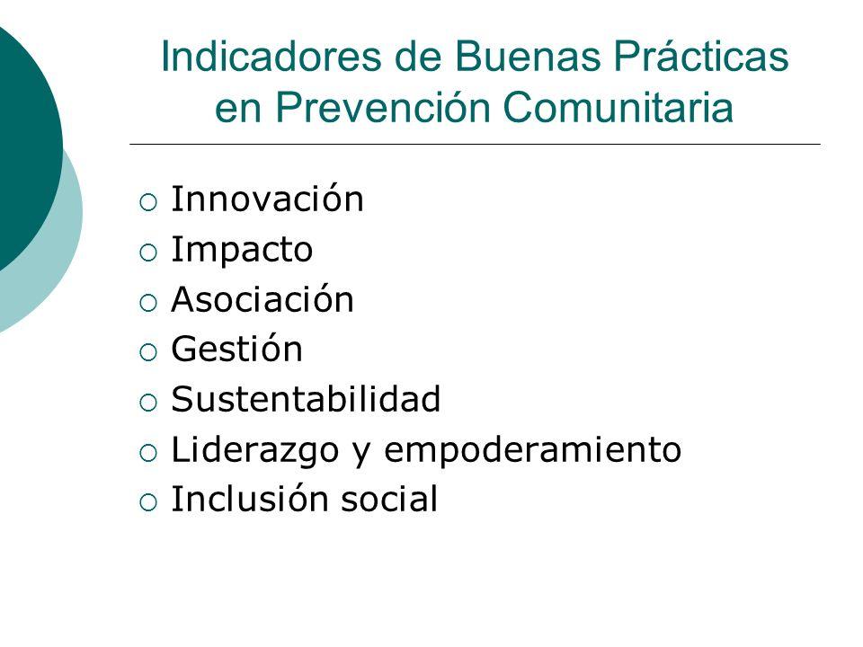 Indicadores de Buenas Prácticas en Prevención Comunitaria