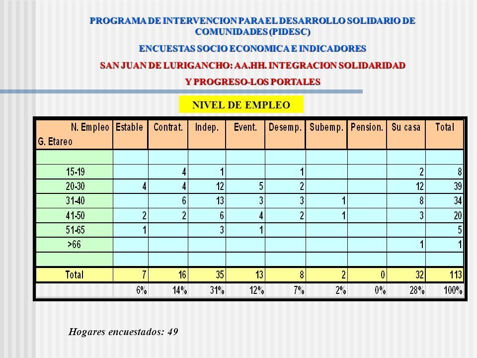 NIVEL DE EMPLEO Hogares encuestados: 49
