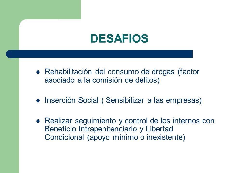 DESAFIOS Rehabilitación del consumo de drogas (factor asociado a la comisión de delitos) Inserción Social ( Sensibilizar a las empresas)