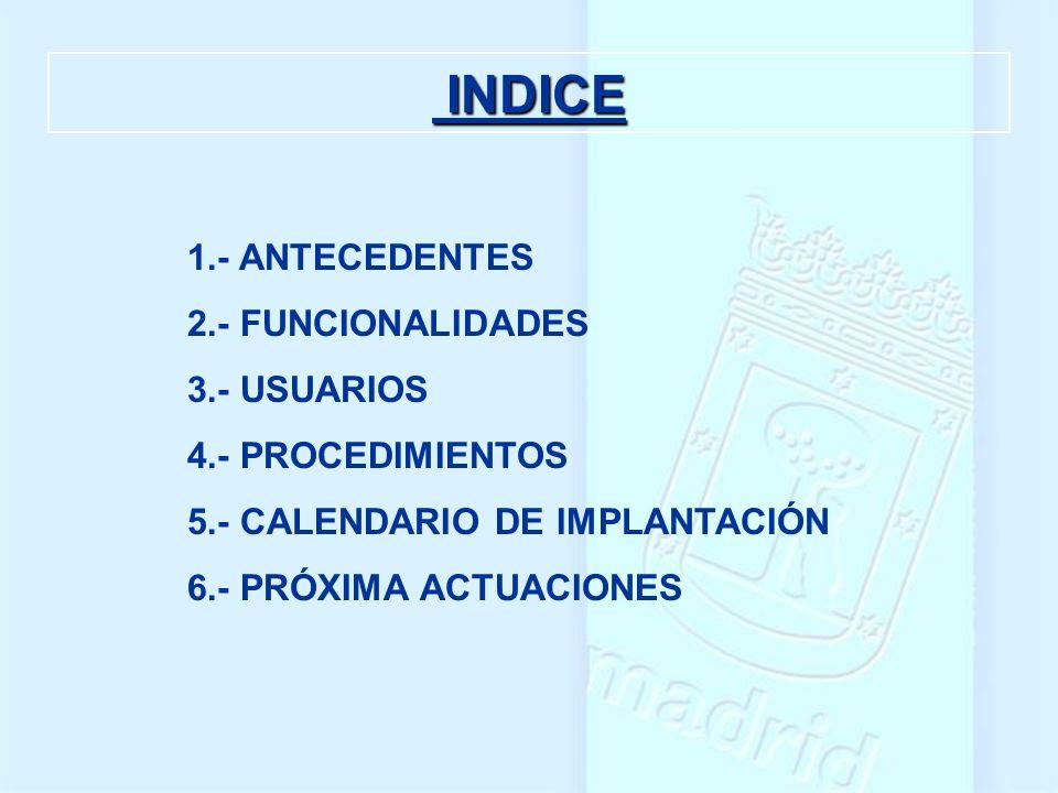 INDICE 1.- ANTECEDENTES 2.- FUNCIONALIDADES 3.- USUARIOS
