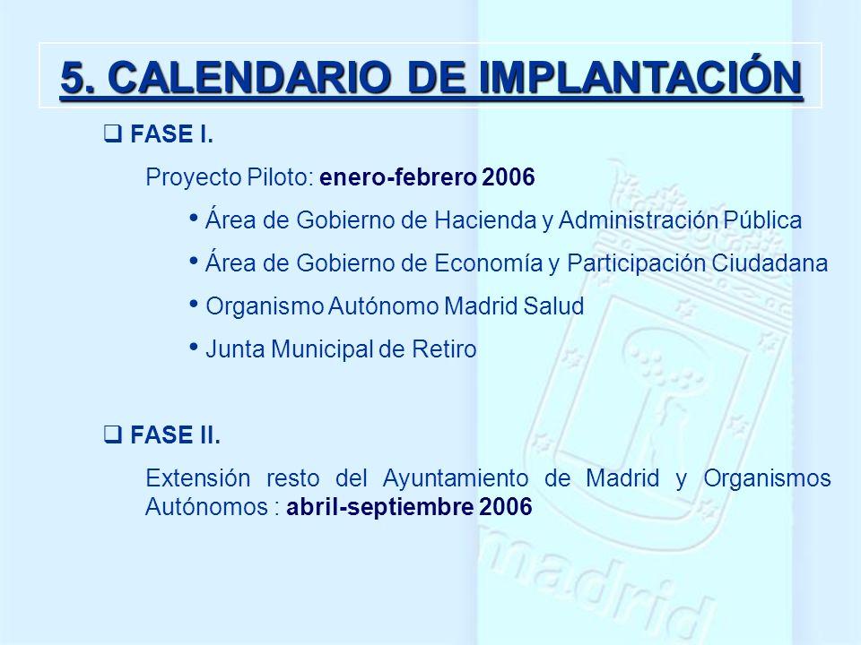 5. CALENDARIO DE IMPLANTACIÓN