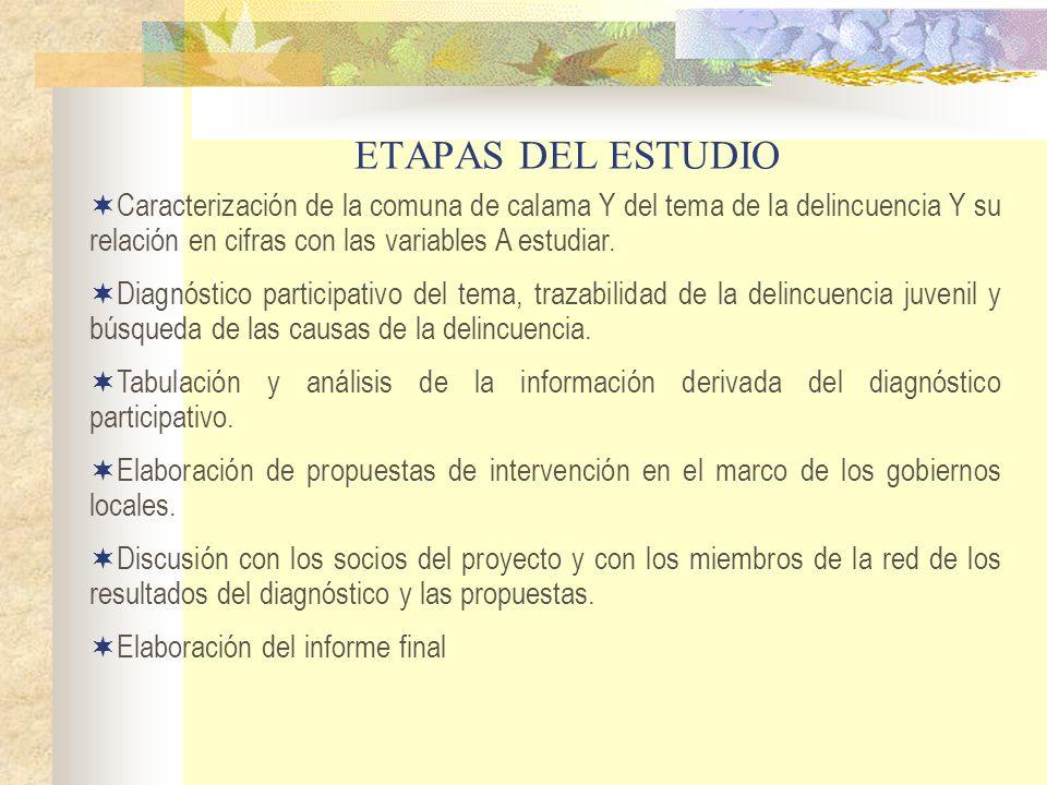 ETAPAS DEL ESTUDIOCaracterización de la comuna de calama Y del tema de la delincuencia Y su relación en cifras con las variables A estudiar.