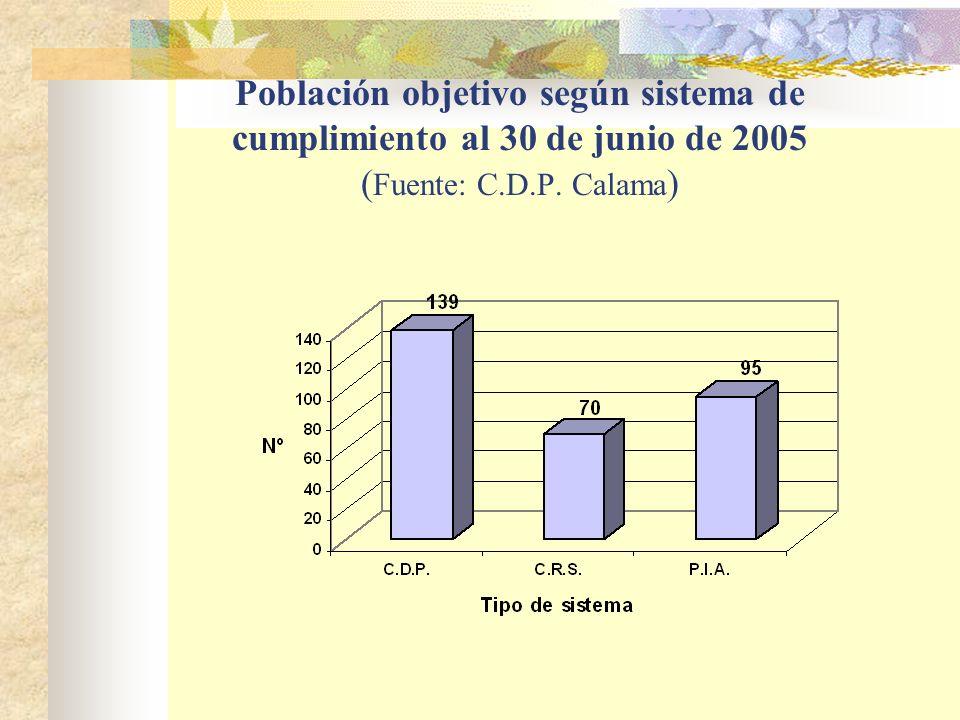 Población objetivo según sistema de cumplimiento al 30 de junio de 2005 (Fuente: C.D.P. Calama)