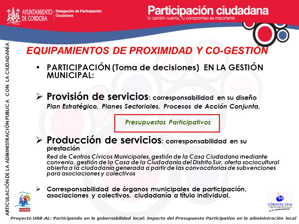 EQUIPAMIENTOS DE PROXIMIDAD Y CO-GESTIÓN