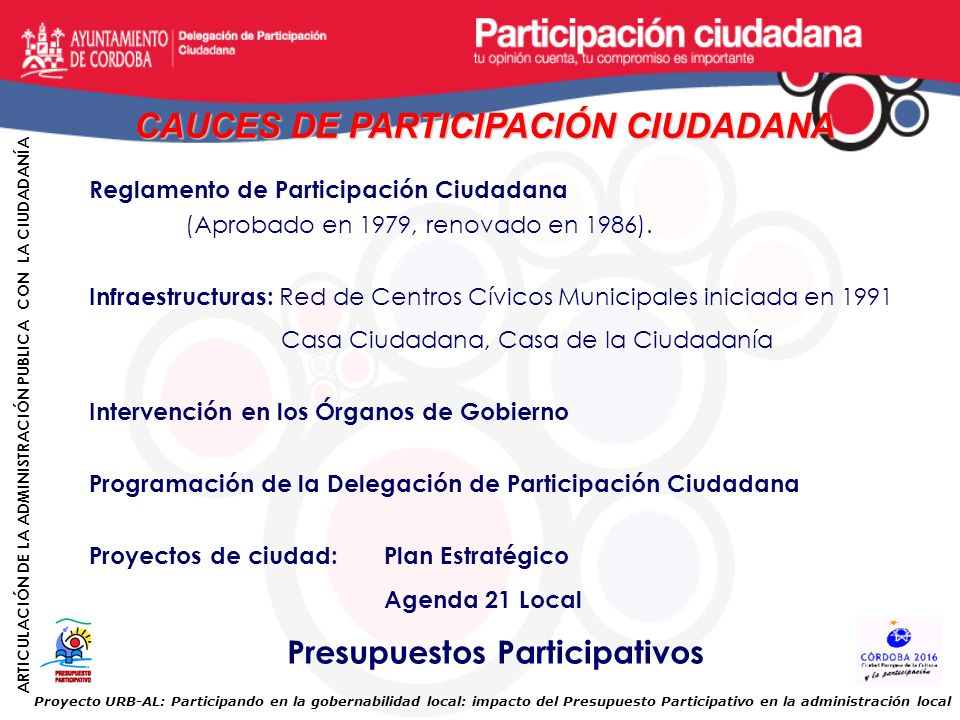 CAUCES DE PARTICIPACIÓN CIUDADANA Presupuestos Participativos