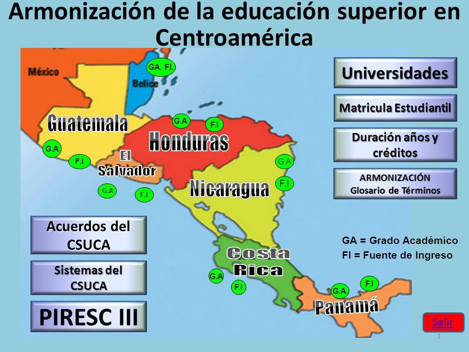 Armonización de la educación superior en Centroamérica