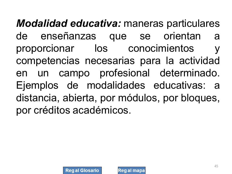 Modalidad educativa: maneras particulares de enseñanzas que se orientan a proporcionar los conocimientos y competencias necesarias para la actividad en un campo profesional determinado. Ejemplos de modalidades educativas: a distancia, abierta, por módulos, por bloques, por créditos académicos.