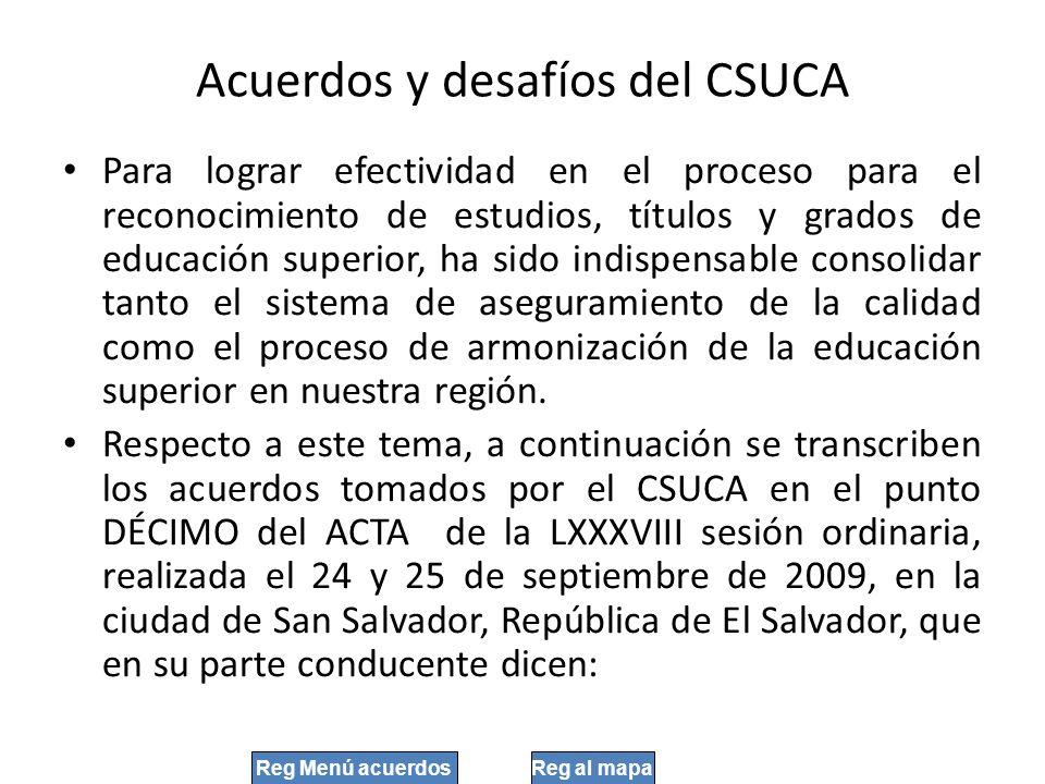 Acuerdos y desafíos del CSUCA