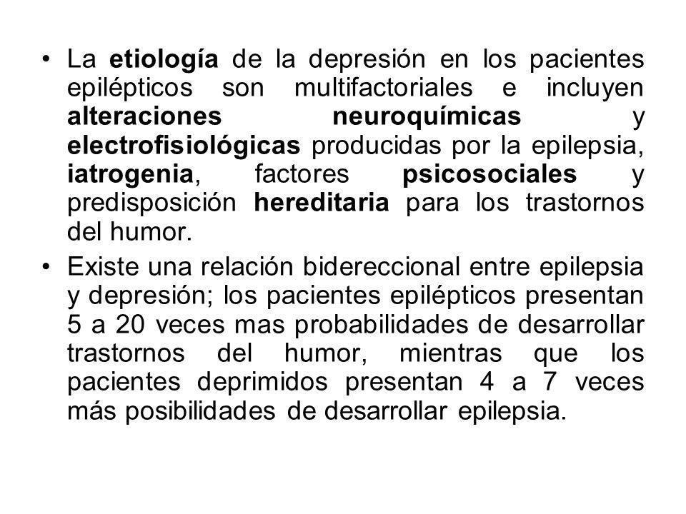 La etiología de la depresión en los pacientes epilépticos son multifactoriales e incluyen alteraciones neuroquímicas y electrofisiológicas producidas por la epilepsia, iatrogenia, factores psicosociales y predisposición hereditaria para los trastornos del humor.