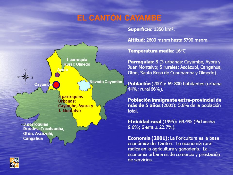 EL CANTÓN CAYAMBE Superficie: 1350 km².