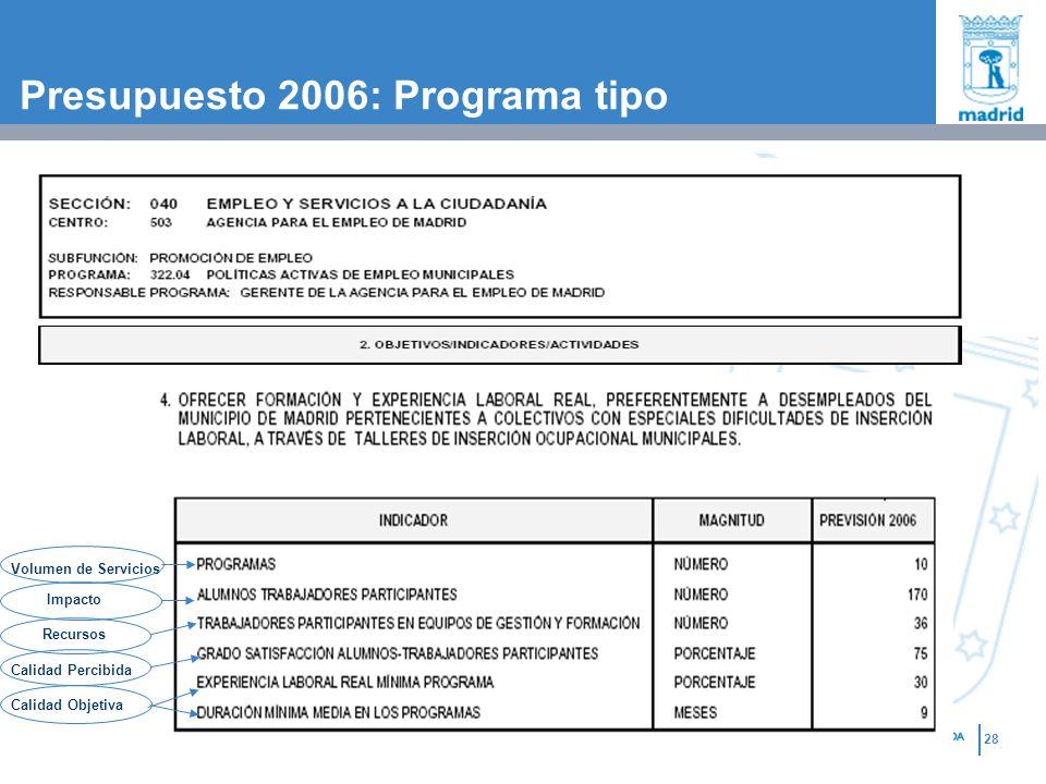 Presupuesto 2006: Programa tipo