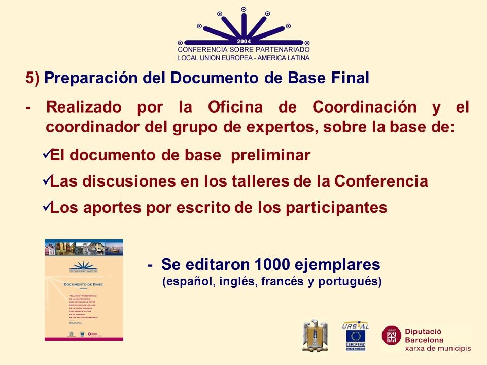 5) Preparación del Documento de Base Final