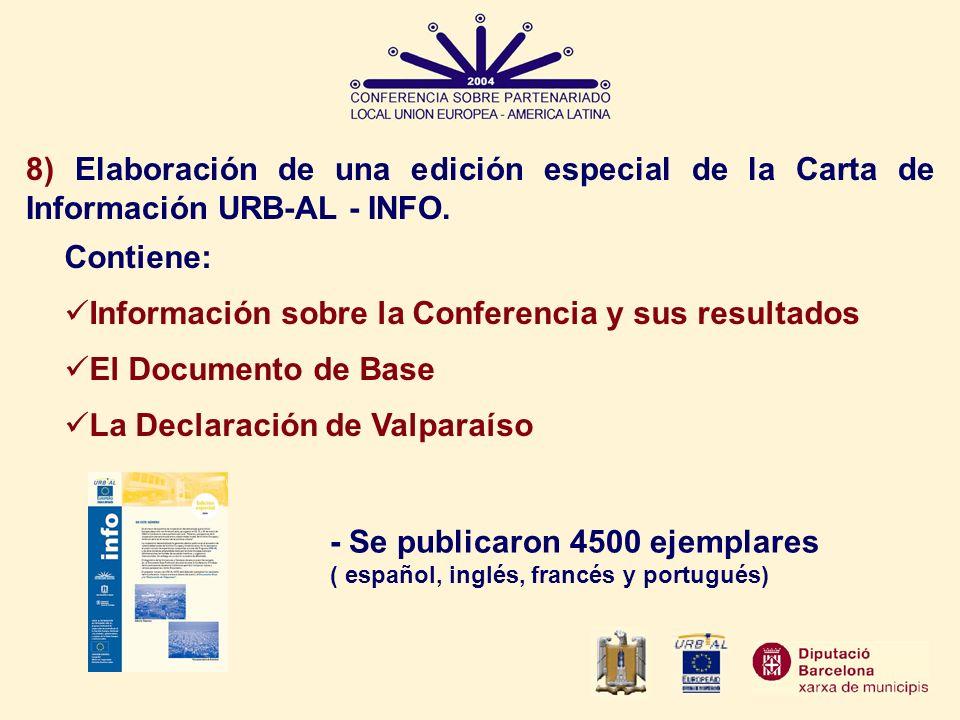 8) Elaboración de una edición especial de la Carta de Información URB-AL - INFO.