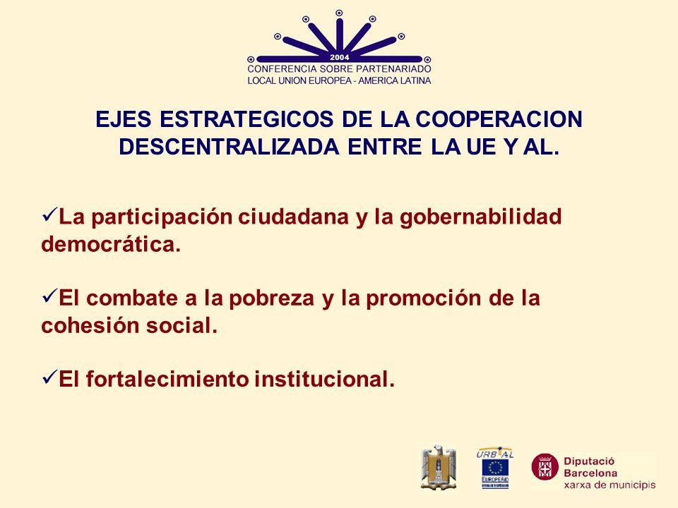 EJES ESTRATEGICOS DE LA COOPERACION DESCENTRALIZADA ENTRE LA UE Y AL.