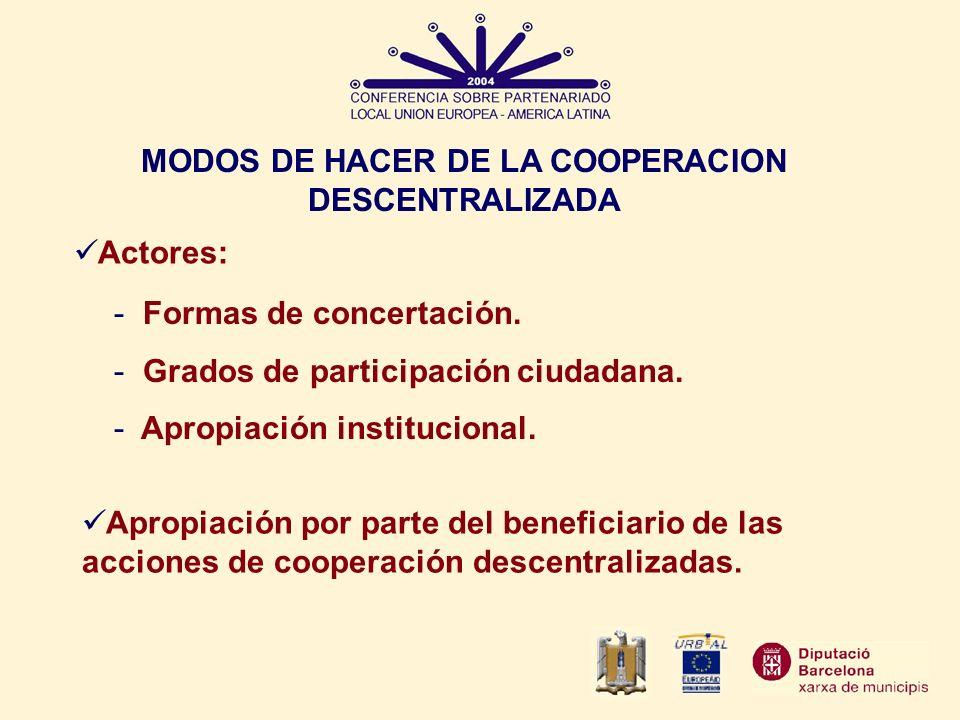 MODOS DE HACER DE LA COOPERACION DESCENTRALIZADA