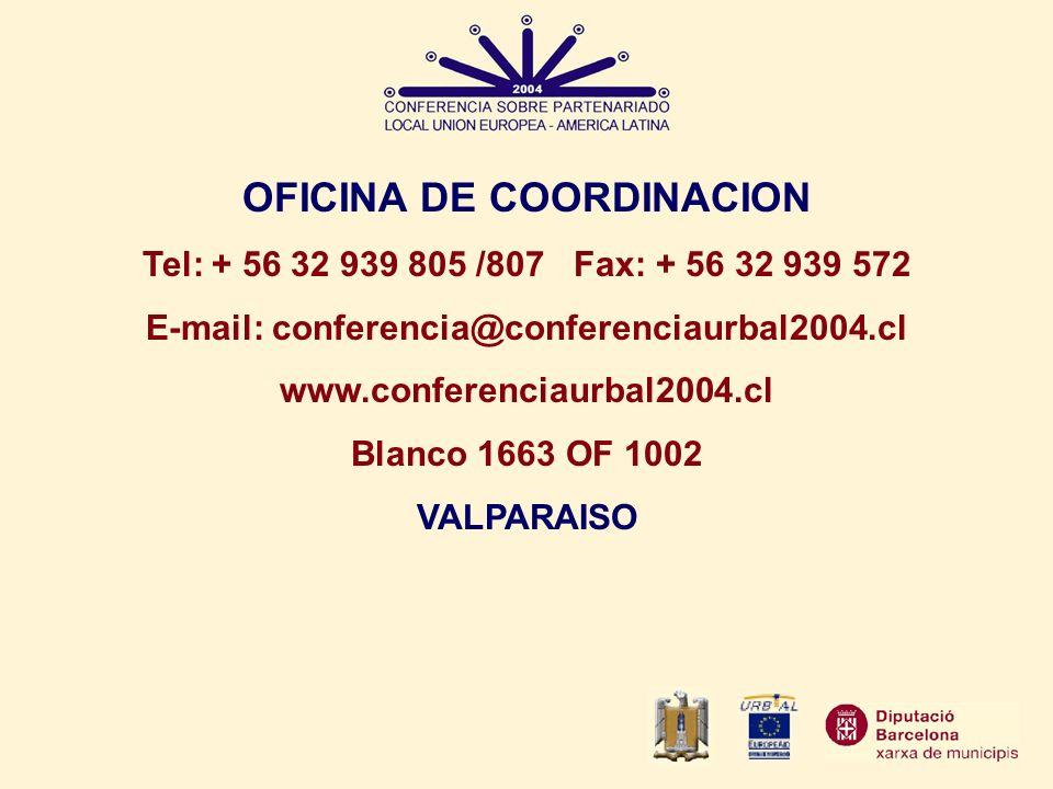OFICINA DE COORDINACION E-mail: conferencia@conferenciaurbal2004.cl