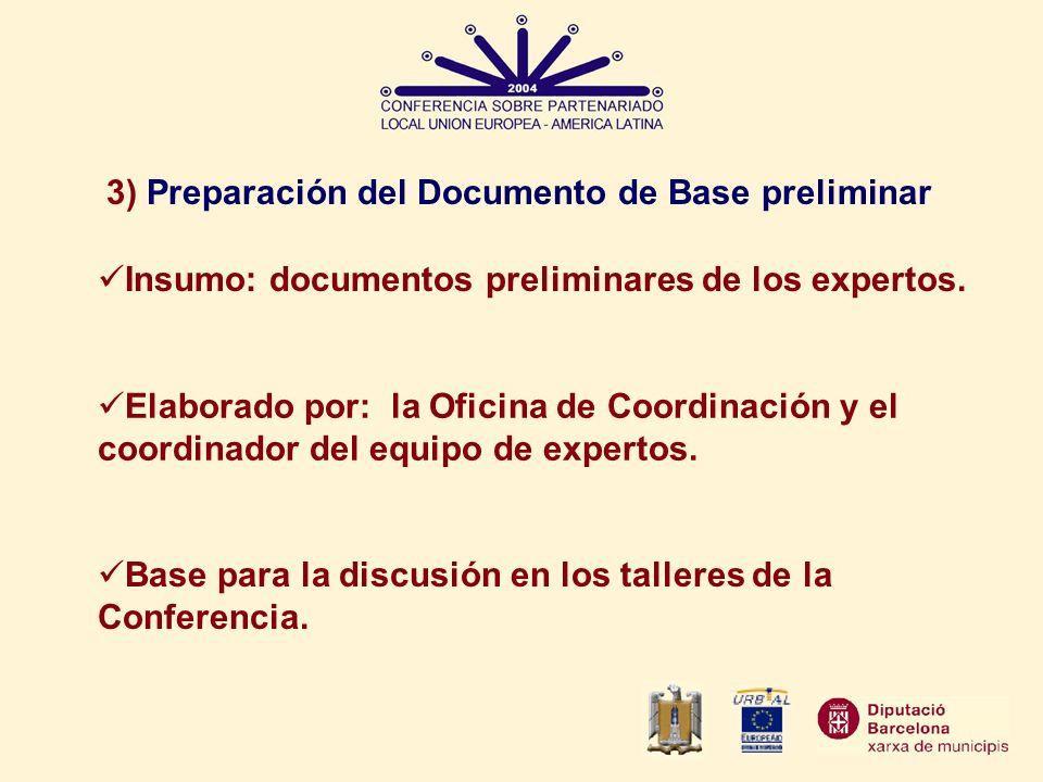 3) Preparación del Documento de Base preliminar