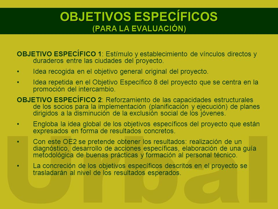 OBJETIVOS ESPECÍFICOS (PARA LA EVALUACIÓN)