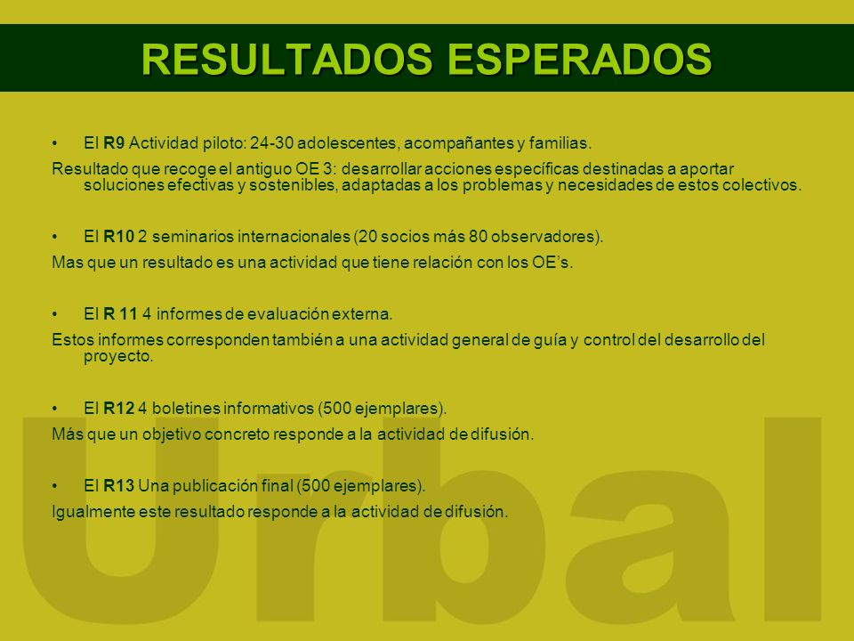 RESULTADOS ESPERADOSEl R9 Actividad piloto: 24-30 adolescentes, acompañantes y familias.