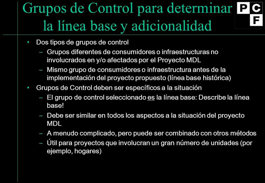Grupos de Control para determinar la línea base y adicionalidad