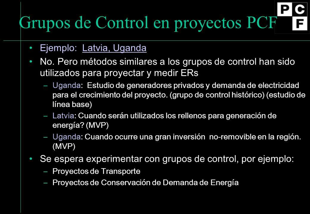 Grupos de Control en proyectos PCF