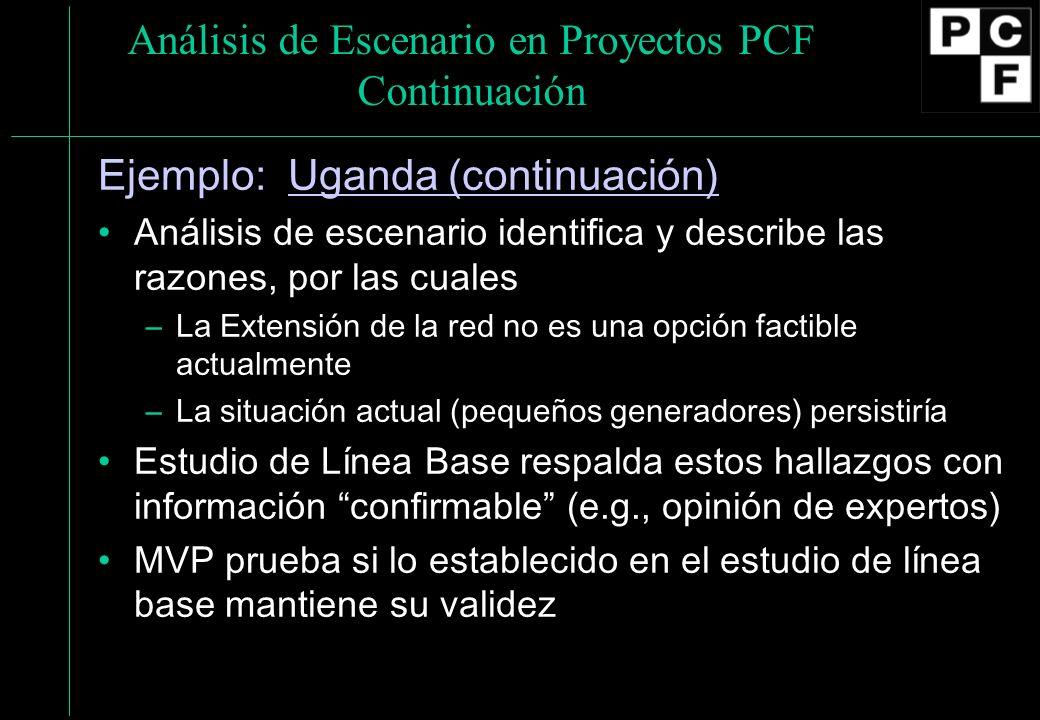 Análisis de Escenario en Proyectos PCF Continuación