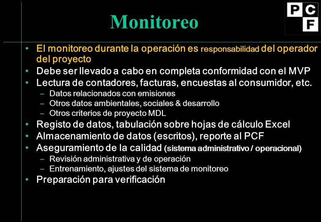 MonitoreoEl monitoreo durante la operación es responsabilidad del operador del proyecto. Debe ser llevado a cabo en completa conformidad con el MVP.