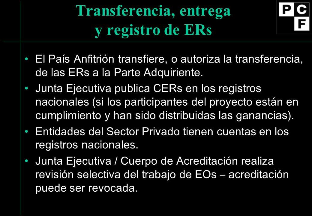 Transferencia, entrega y registro de ERs