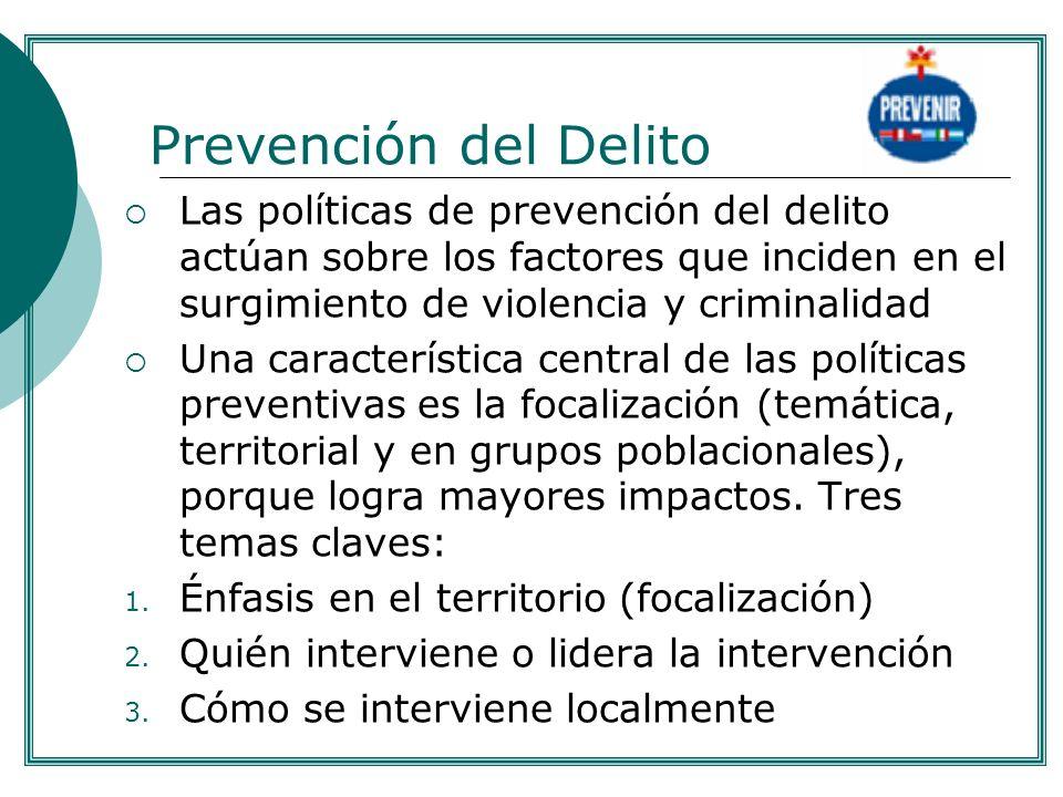 .Prevención del Delito. Las políticas de prevención del delito actúan sobre los factores que inciden en el surgimiento de violencia y criminalidad.